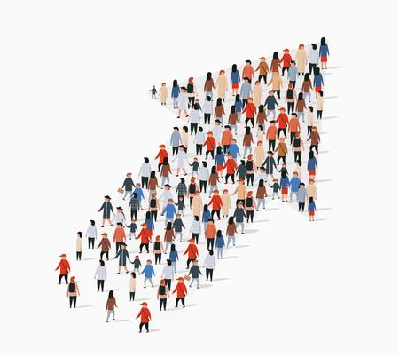 Grote groep mensen in de vorm van een pijl. vector illustratie