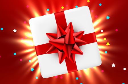 Gift box and magic light fireworks Christmas background. Vector illustration