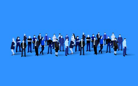 Big people crowd on blue background. Vector illustration.