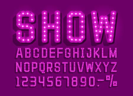Show font vintage, light sign set. Vector illustration Vektorové ilustrace