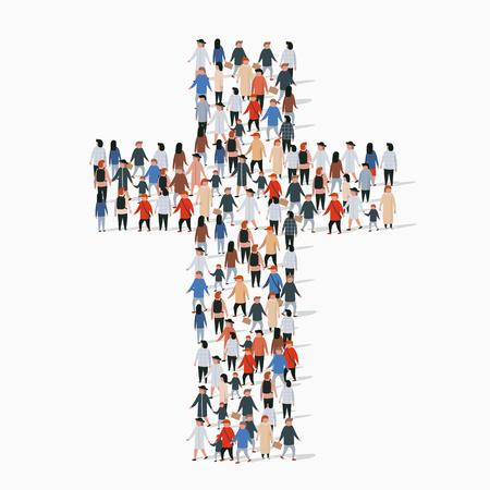 Grand groupe de personnes en forme de croix chrétienne.