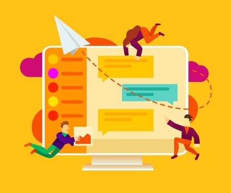 Eine Gruppe kleiner Leute führt Gespräche über soziale Medien oder Online-Chat-Anwendungen. Kann für Präsentation, Web, Banner, Zielseitenvorlage verwendet werden. Vektor-Illustration