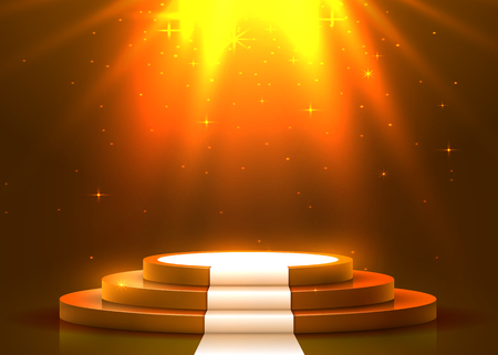 Podium rond abstrait avec tapis blanc éclairé par des projecteurs. Concept de cérémonie de remise des prix. Toile de fond de scène. Illustration vectorielle Vecteurs