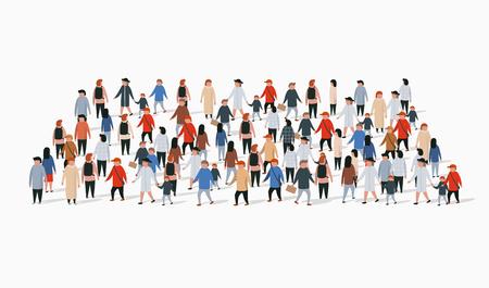 Modèle de brochure publicitaire avec foule de personnes en forme de rectangle.