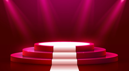 Abstract round podium with white carpet illuminated with spotlight. Award ceremony concept. Stage backdrop. Vector illustration Illustration