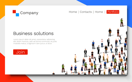 Business solutions. Teamwork and success concept. Landing page concept. 向量圖像