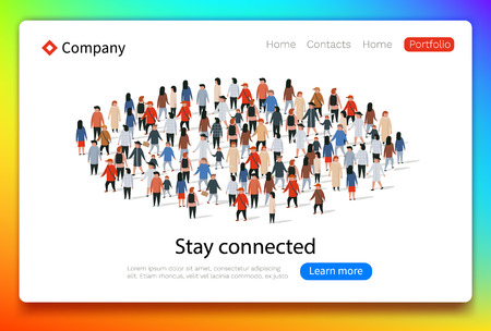 Social Network web page. Group of Young People. Teamwork and success concept. Landing page concept.
