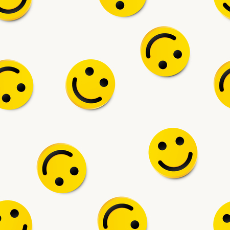 Modern yellow laughing happy smile seamless background.