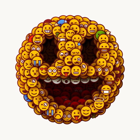 1 April wold fools day. Smiley face made of many small smiles. Unusual and creative smile crowd concept. Vector illustration.