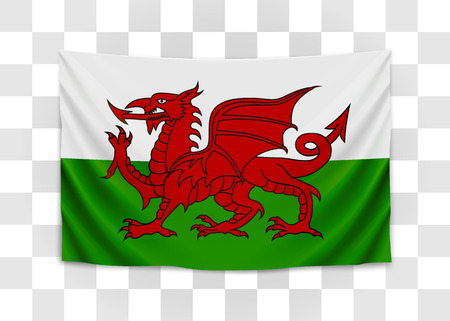 Hanging flag of Wales. Wales. National flag concept. Vector illustration.