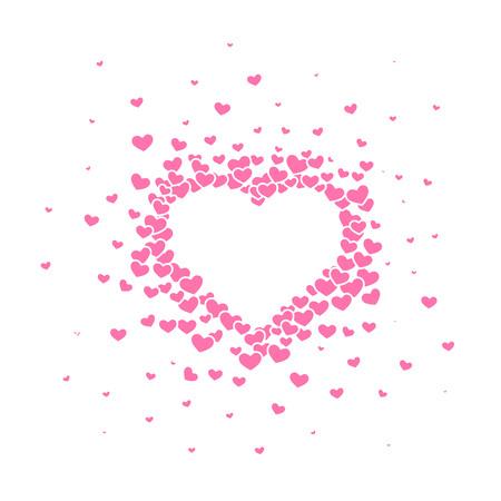 Sfondo dal cuore rosa con un titolo di San Valentino su di esso. Illustrazione vettoriale.
