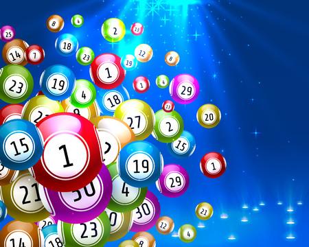 Lotteriespiel, Kugeln mit Zahlen, auf farbigem Hintergrund.