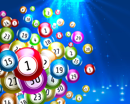 lottery game, balls with numbers, on a colored background.
