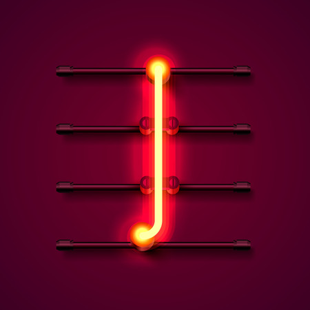 Neon font letter I, art design signboard. Vector illustration 向量圖像