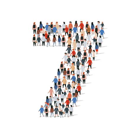 Gran grupo de personas en forma número 7 siete. Ilustración vectorial