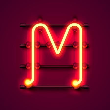 Neon font letter M, art design signboard. Vector illustration