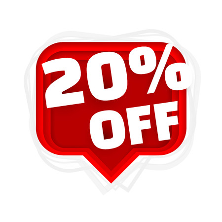 Banner 20 off with share discount percentage. Vector illustration