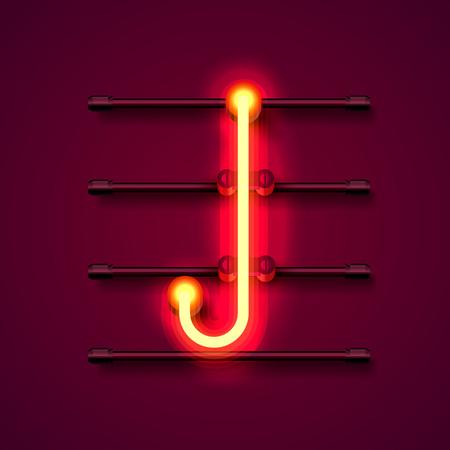 Neon font letter J, art design signboard. Vector illustration