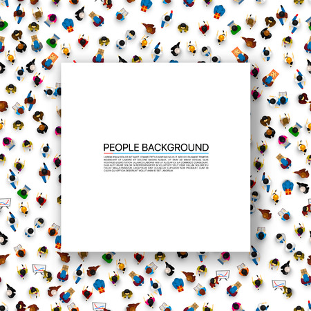 Big people crowd on white background. Vector