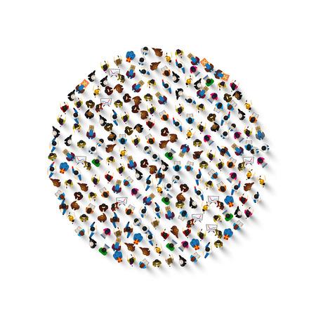 Eine Gruppe von Menschen in Form eines Kreissymbols, isoliert auf weißem Hintergrund. Vektor-Illustration Vektorgrafik
