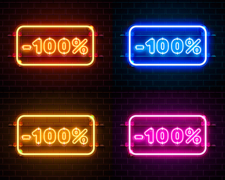 Neon 100 off text banner color set. Night Sign. Vector illustration