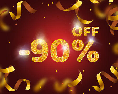 Banner 90 off with share discount percentage, Gold Ribbon Fly. Vector illustration Vectores