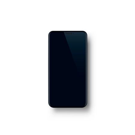 Telefono con schermo nero, elettronica di oggetti. Vettoriali