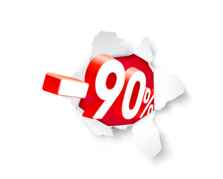 Paper explosion banner 90 off with share discount percentage. Vector illustration