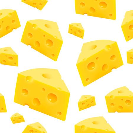 Triangular piece of cheese texture Seamless. Vector Illustration