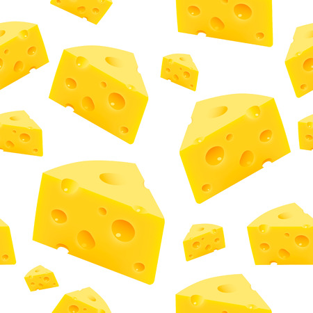 Triangular piece of cheese texture Seamless. Vector  イラスト・ベクター素材