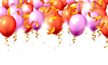 Feestelijke kleur paarse en rode ballon partij achtergrond. vector illustratie