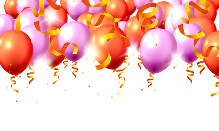 Festive color purple and red balloon party background. Vector illustration