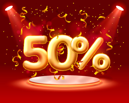 Sale 50 off ballon number on the red background. Vector illustration