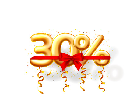 Sale 30 off ballon number on the white background. Vector illustration