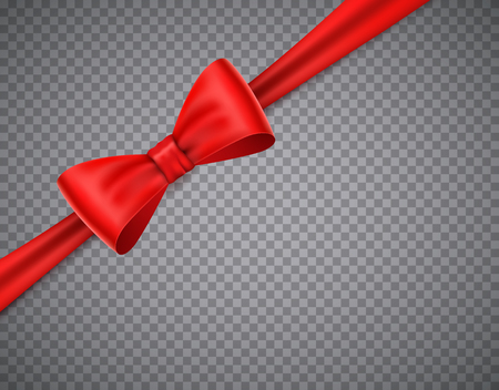 Realistic red bow on transparent background. transparent illusatraion Vectores
