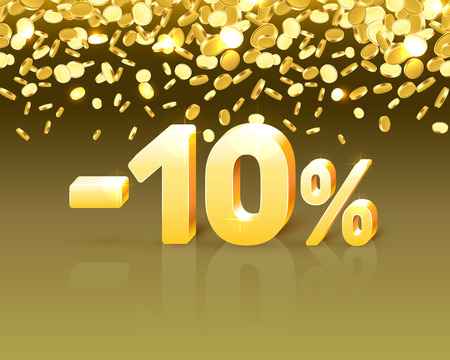Big Discount, action with share discount percentage 10. Vector illustration