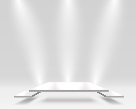 The square pedestal in gray colors, the presentation of the best. Vector illustration