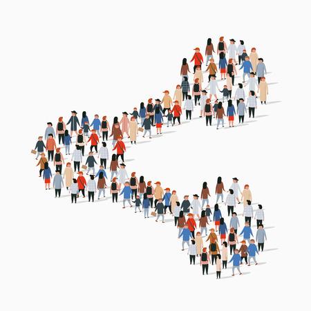 Grande gruppo di persone a forma di segno di condivisione. Illustrazione vettoriale. Vettoriali