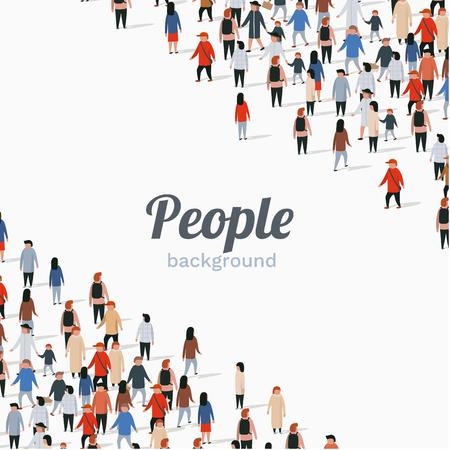 Grande gruppo di persone su sfondo bianco. Concetto di comunicazione di persone. Illustrazione vettoriale Vettoriali