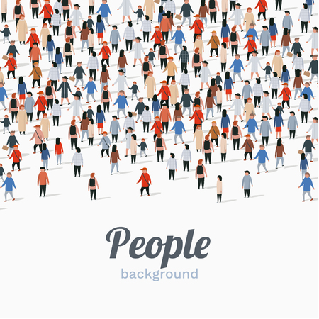 Gran grupo de personas sobre fondo blanco. Concepto de comunicación de personas. Ilustración vectorial
