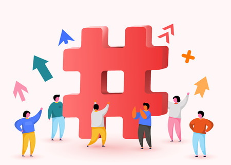 Hashtag sign. Concept of hashtag for social media marketing advertising, blogging, media planning, promotion in social network with group of happy people. Vector Vecteurs