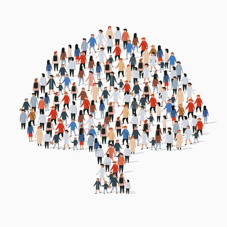 Gran grupo de personas en forma de árbol. Ilustración vectorial