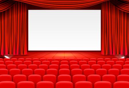 Arte de fondo de cine de escena, actuación en el escenario. Ilustración de vector