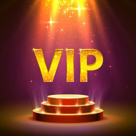 Vip-Podium mit Beleuchtung, Bühnenpodium-Szene mit für die Preisverleihung auf rotem Hintergrund. Vektor-Illustration