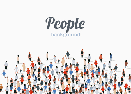Large group of people on white background. People communication concept. Vector illustration  イラスト・ベクター素材