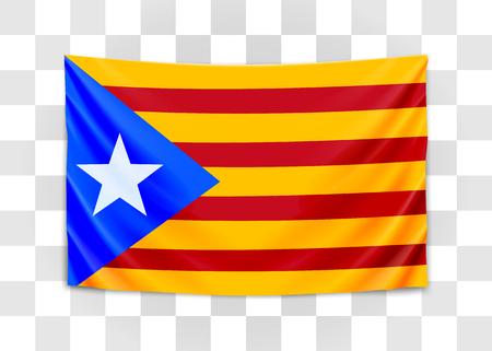 Bandiera della Catalogna appesa. Referendum catalano. Concetto di bandiera nazionale. Illustrazione vettoriale