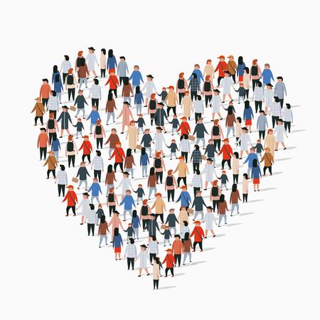 Grande gruppo di persone a forma di segno di cuore. Illustrazione vettoriale Vettoriali