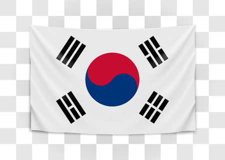 Hanging flag of Korea. Republic of Korea. National flag concept. Vector illustration.