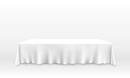 Stół z banerem sztuki obrus, białe tło. Ilustracja wektorowa