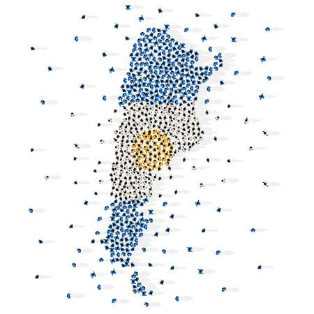 Duża grupa ludzi w kształcie flagi Republiki Argentyny. Argentyna. Ilustracja wektorowa